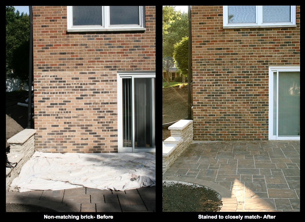 Exterior brick was stained to closely match the clients existing brick