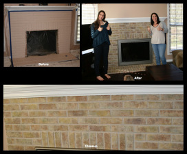 Painted Fireplace Brick transformed.